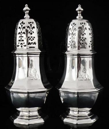 Pair Antique English Britannia Standard Silver Casters