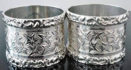 Pair Late Victorian English Sterling Silver Napkin Rings