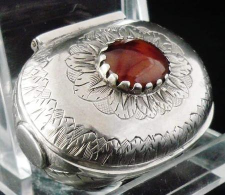 Antique Sterling Silver Stone Set Snuff Box