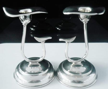 Stylish Indian Sterling Silver Candlesticks