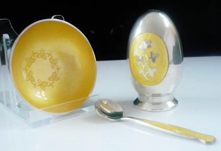 Danish Sterling Silver Enamel Condiment Set