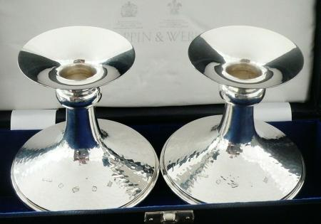 Contemporary Sterling Silver Candlesticks