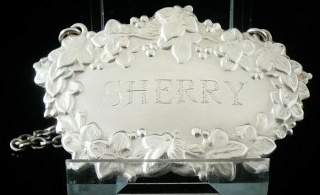 Silver Sherry Decanter Lable