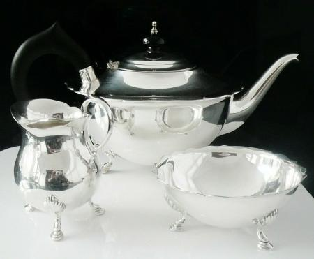 Contemporary Sterling Silver Teaset