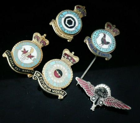 5 Vintage RAF Badges