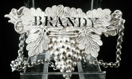 Silver BRANDY Decanter Label