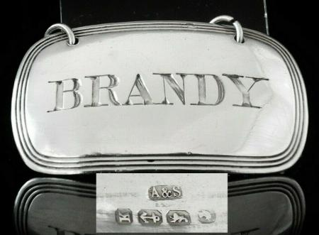 Silver BRANDY Decanter Label
