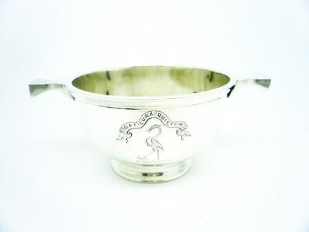 Scottish Antique Silver Quaich, Sterling, Crest for Hall of Dunglass, Coin Set, Thomas Ross & Sons, REF:261A