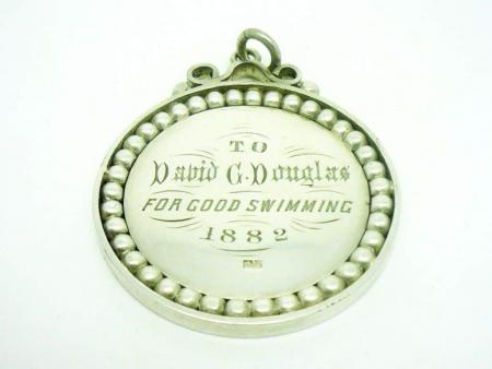 Silver Swimming Medal, Sterling, ANTIQUE, Pitt Street Baths, Portsmouth 1882, REF:275I